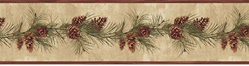 Chesapeake HTM48403B Bubba Wheat Pinecone Boughs Trail Wallpaper Border