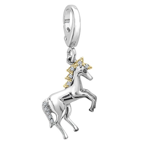Horse Charm with Diamonds in Sterling Silver & 14K Gold by Finecraft