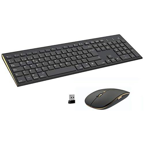 chollos oferta descuentos barato FENIFOX Teclado y Raton inalambrico diseño ergonómico 2 4 G Teclado inalámbrico y ratón Combinado USB para PC de Escritorio Mac OS Windows Linux Black