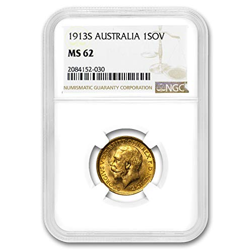 1913 AU S Australia Gold Sovereign George V MS-62 NGC Gold MS-62 NGC (Set Coin Dragon Gold)