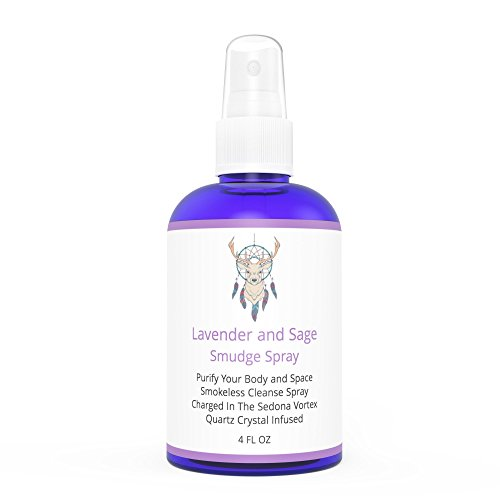 Sage Smudge Spray With Lavender For Cleansing And Clearing Energy (4 oz) - Liquid Blend Alternative To Burning Sage Sticks Or Bundles - Handmade In Sedona With Pure Essential Oils & Quartz Crystals