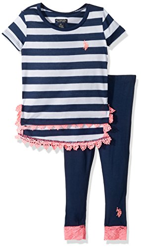 U.S. Polo Assn. Toddler Girls' Fashion Top and Legging Set, Slit Sides Lace Trim Classic Navy, 4T