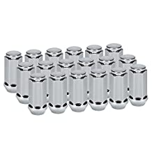 "LEDKINGDOMUS 20x Chrome Closed End Bulge Acorn 1/2""-20 Wheel Lug Nuts 1.9"" Tall 3/4"" Hex Compatible for Jeep Wrangler TJ YJ CJ JK Trucks Pack of 20Pcs"