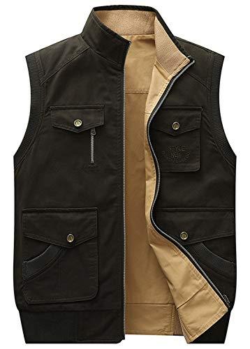 (chouyatou Men's Outdoor Sports Zipper Multi-Pocket Reversible Wild Twill Work Vest Jacket (Medium, Army Green))