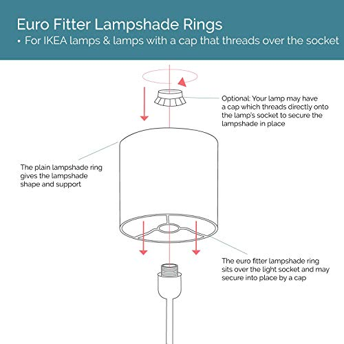 Lamp Shade Ring Set to Make a DIY Drum Ring Lamp Shade - European Style Fitter - Strong Galvanized Steel Ring For Lamp Shade - 10 Inch Diameter by I like that lamp (Image #2)