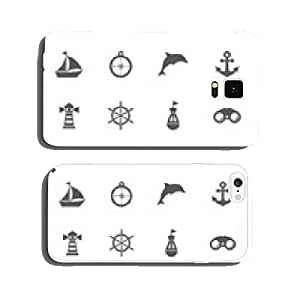 Sea icons set. cell phone cover case Samsung S6