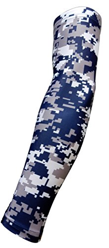 NEW! Moisture Wicking Compression Arm Sleeve (Navy Blue Digital Camo, Youth Large)