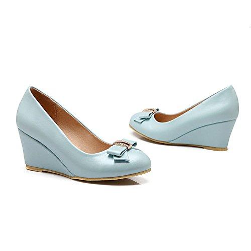 Wedges Calfskin - Spritech(TM) Women Girl Summer PU Leather Point Toe Bowknot Design Platform Wedges Shoes Blue 36