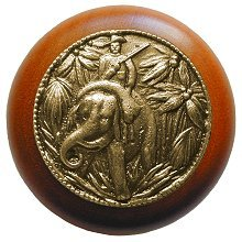 "All Creatures 1.5"" Round Knob Finish: Antique Brass / Cherry Wood"