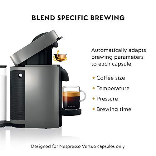 Nespresso VertuoPlus Coffee and Espresso Machine by De'Longhi, 5.6 x 16.2 x 12.8 inches, Grey