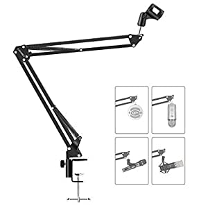 Earamble Studio Microphone Stand, Professional Broadcast Suspension Boom Scissor Arm Microphone Holder With Adjustable Table Mounting Clamp for Blue Yeti Snowball