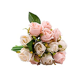 Lovemat Artificial Flowers,Nearly Natural Artificial Rose Bouquets for Wedding/Home Decor/Party Arrangement 29