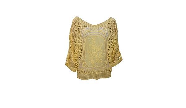 femiss De la Mujer Off hombro encaje Crochet de Punto Batwing Top Ladies bordado blusa: Amazon.es: Ropa y accesorios