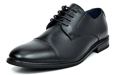 Bruno Marc Men's Prince-6 All Black Leather Lined Dress Oxfords Shoes - 8.5 M US -