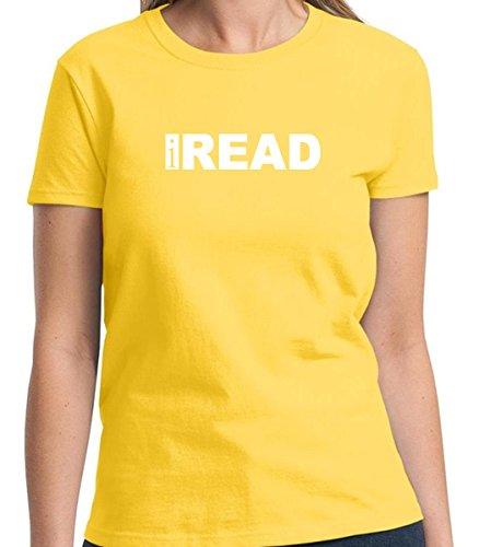 iRead Funny Humorous Women's Tshirt Short Sleeve Allure & Grace (Small, Daisy Yellow) (Great Gatsby Daisy Dress)