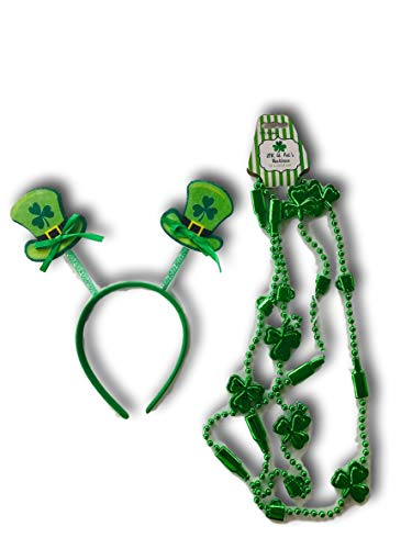 Plum Nellie's Treasures St. Patricks Day Headband and Party Beads Costume (Leprechaun Hat & Shamrock and Beer Bottle Beads) ()