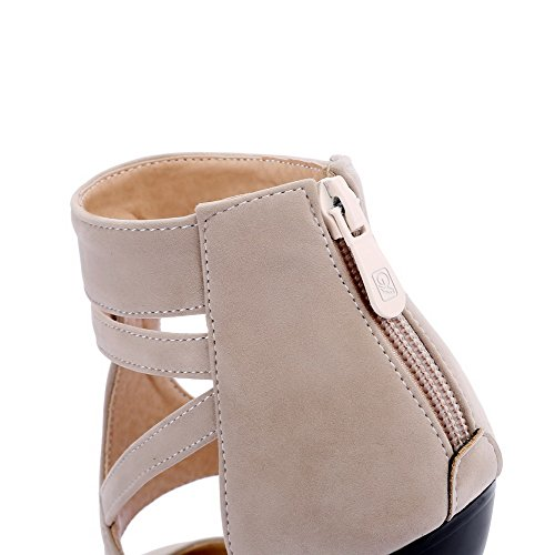 AmoonyFashion Womens Pointed-Toe Zipper Imitated Suede Solid High-Heels Sandals Apricot 3rR9hL