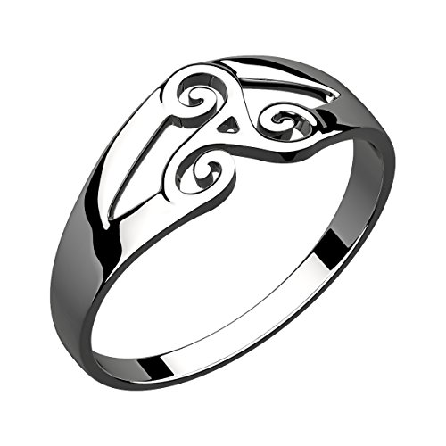 GWG Ring for Women Sterling Silver Celtic Spiral Triskele – (Spiral Sterling Silver Fashion Ring)