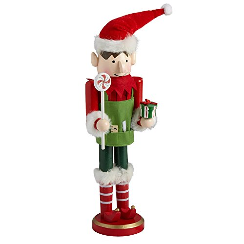 Northeast Home Goods Wooden Christmas Nutcracker Decor, 15-inch Boy Elf with Treats by Northeast Home Goods