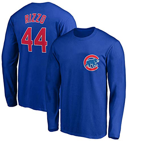 - Outerstuff MLB Youth 8-20 Team Color Player Name and Number Long Sleeve Jersey T-Shirt (Medium 10/12, Anthony Rizzo Chicago Cubs Blue)