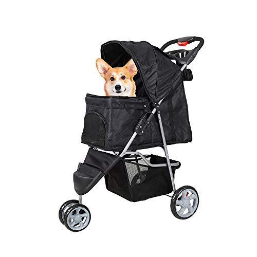 Lucky Tree Pet Stroller Cat Dog Foldable Travel Carrier Cart with 3 Wheels, Easy Walk for Jogger Jogging, Black