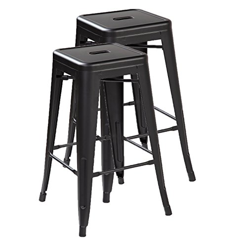 Ayvek Chairs Metal High ProStackable Indoor and Outdoor Backless Barstool (Set of 2), 26.4