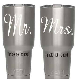 Mr. Mrs. (white) Decals for tumblers (Tumbler not included) White Red Green Teal 3.5