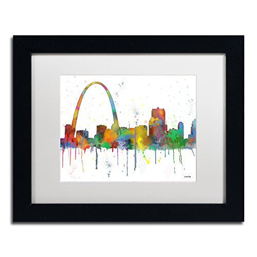 Gateway Arch St Louis Skyline by Marlene Watson, White Matte, Black Frame ()