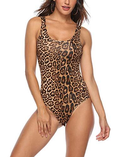 Queen.M Women's Sexy Bodysuit Leopard Snake Skin Leotard Tank Top Sleeveless Scoop Neck Bodycon Jumpsuit Onesie Romper (Leopard Brown, L) -