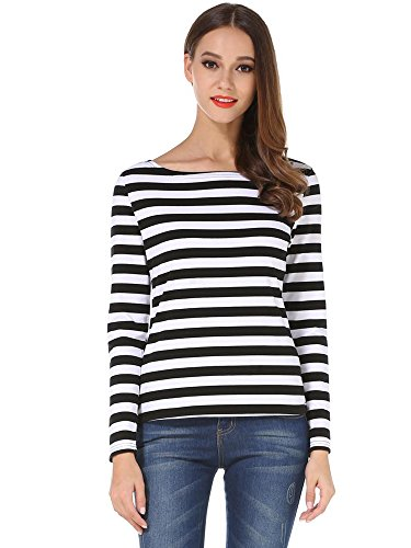 HUHOT Womens Zombie Striped Halloween Shrit Prisoner Stripes Women 6447-1 M ()