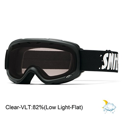 Jr Ski Goggle - Smith Optics Gambler Junior Series Winter Sport Snowmobile Goggles Eyewear - Black/Clear/One Size