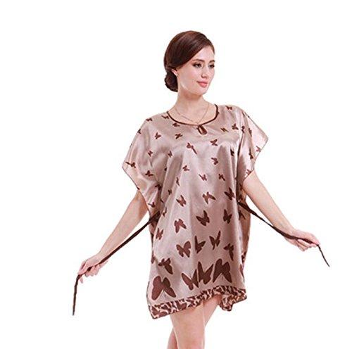 ZC&J Mariposa del verano clásico camisón de seda corto verano la letra servicio a domicilio Sra camisón de seda de la falda / baño,pink,one size Brown