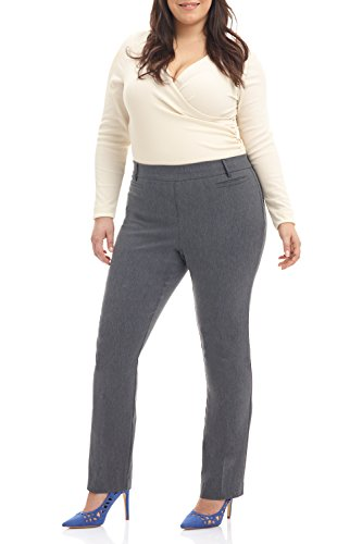 Rekucci Curvy Woman Ease into Comfort Plus Size Straight Pant w/Tummy Control (20W,Charcoal)