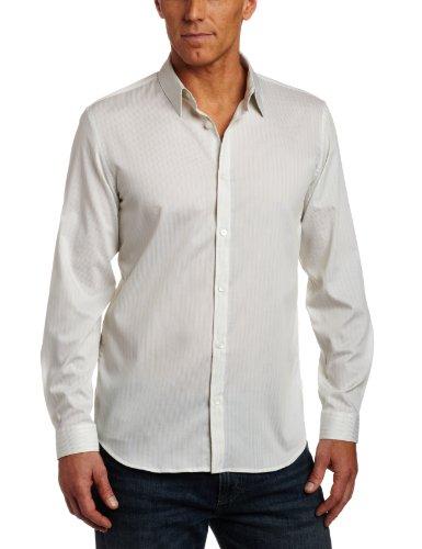 Calvin Klein Men's Long Sleeve Yarn Dye Stripe Dobby Woven Shirt, Yucca, X-Large (Woven Dye Shirt Stripe Yarn)
