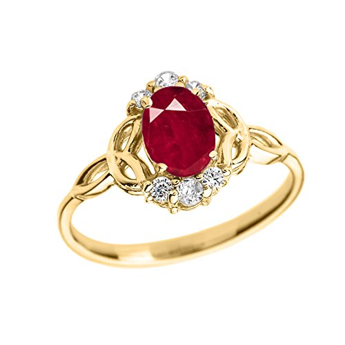Gold Genuine Ruby Ring - Elegant 14k Yellow Gold Diamond Trinity Knot Proposal Ring with Genuine Ruby (Size 10)