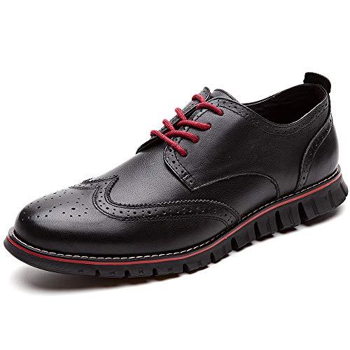 Comfortable Black Dress Shoes - Laoks Mens Oxford Shoes Wingtip Genuine Leather Lace up Dress Shoes, Black