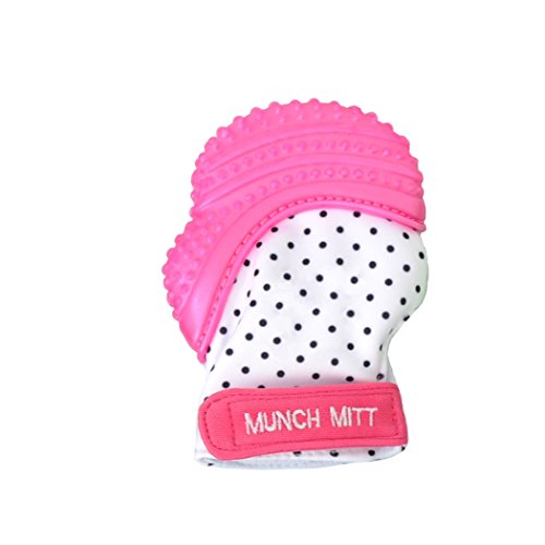 Munch Mitt Teething Mitten is Teether That Stays on Baby's Hand for Self-Soothing Pain Relief with Hygienic Travel / Laundry Bag, Pink Shimmer (Stage 3 Neck Standard)