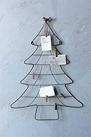 Metal Christmas Tree Shape Wall Mount Card Holder With Bird Clips