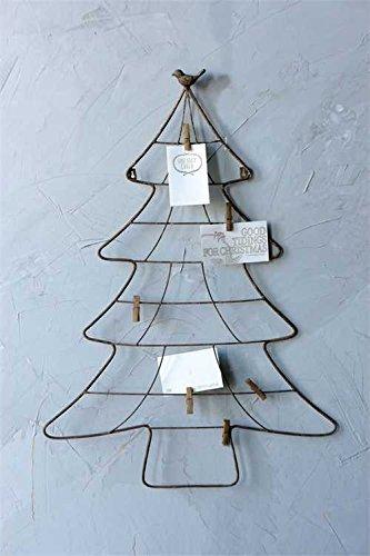 metal christmas tree shape wall mount card holder with bird clips - Christmas Card Holder Wall Hanging