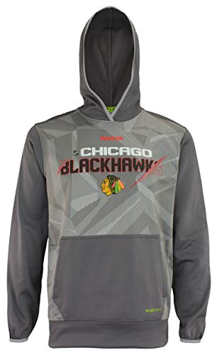 Reebok Chicago Blackhawks 2015 Center Ice TNT Hood Pullover Playdry Gray Sweatshirt