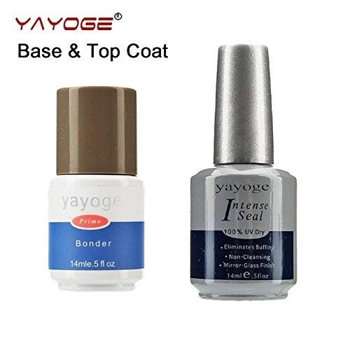 YAYOGE 14ml Non Cleansing Base and Top Coat Set UV LED Nail Gel Bonder Intense Seal Nail Extension Tool