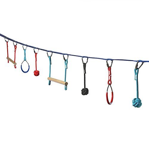 Ivation Portable 45 Foot Slackline Monkey Bar Kit – Kids Swinging Obstacle Course Set - Bars, Fists, Gymnastics Rings – 250lb Capacity - Storage Bag Included by Ivation