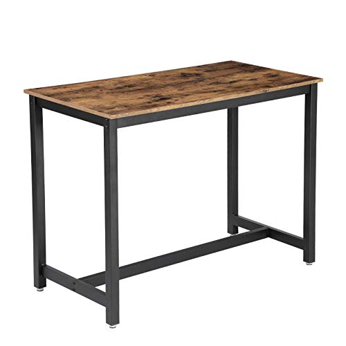 VASAGLE Vintage Dining Table, Bar Table With Solid Metal Frame, Multifunctional Desk for Dining Room or Living Room, Wood Look Accent Furniture ULBT91X