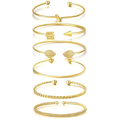 I'S ISAACSONG Yellow Gold Plated Inspirational Love Knot Stackable Open Cuff Bangle Bracelet Set for Women and Girls (Crystal, Bar, Love Knot 6 Pcs Set) from I'S ISAACSONG