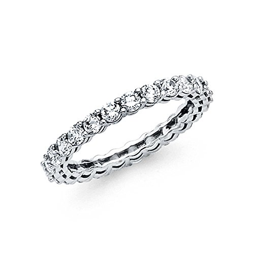 14k Solid White Gold Eternity Band Stackable Ring Channel Set Endless Wedding Band 2.6 MM Size 6 (Set Band Eternity Channel)