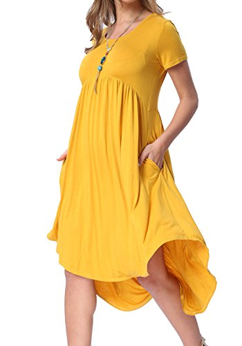 levaca Womens High Low Draped Hem Swing Loose Casual Party Midi Dress Yellow M from levaca
