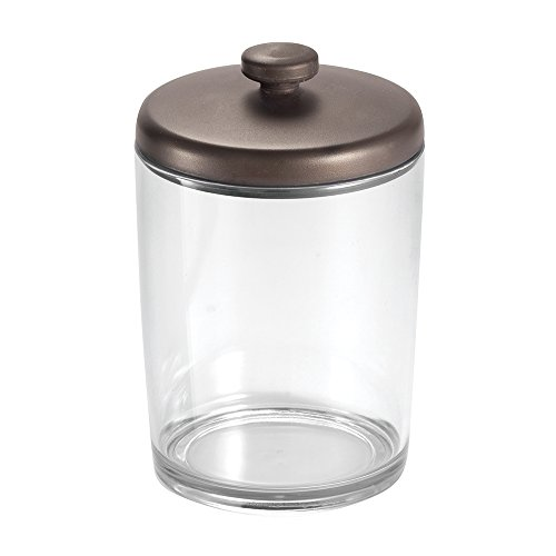 (InterDesign Gina Bathroom Vanity Canister Jar for Cotton Balls, Swabs, Cosmetic Pads - Clear/Bronze)