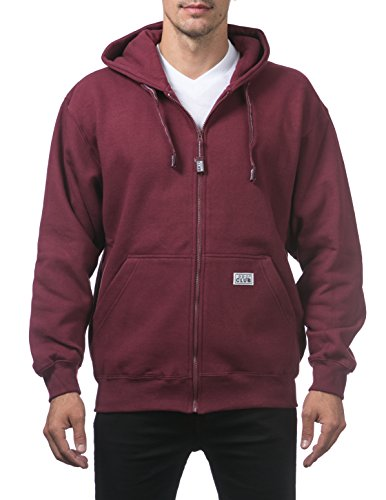 Pro Club Men's Heavyweight Full Zip Fleece Hoodie, Maroon, Large