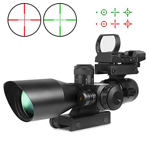 Tworld Rifle Scope 2.5-10x40 Rifle Scope Dual Illuminated Mil-dot with Sight Red Laser, Rail Mount and 4 Reticle Red and Green Dot Open Reflex Sight with Weaver by Twod
