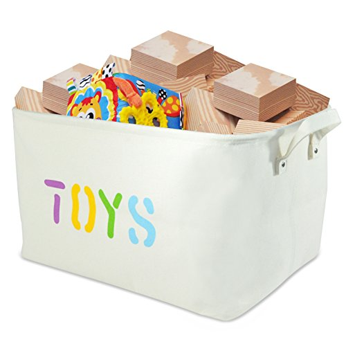 "Canvas Storage Bin 20x14x10"" large enough for Toy Storage - Storage Basket for organizing Baby Toys, Kids Toys, Baby Clothing, Children Books, Gift Baskets."